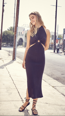 Ring My Bell Cut Out Dress in Charcoal