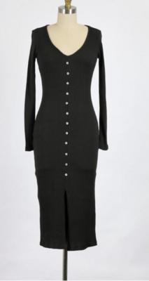 Kiss and Tell Midi Dress in Black