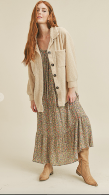 Free Fall Teddy Shacket in Taupe