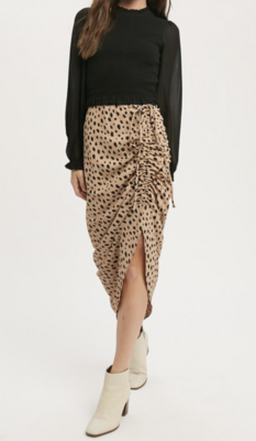 Wild One Leo Asymmetrical Skirt in Taupe