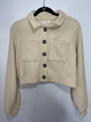 Free Fall Free Cropped Teddy Shacket in Taupe
