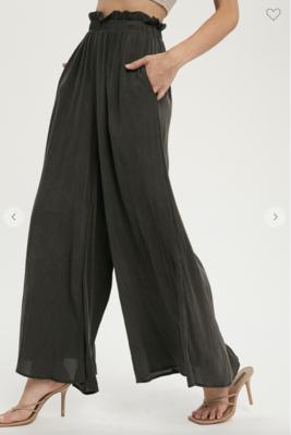 Fancy Like Crinkle Wide Trouser in Black