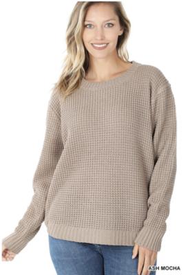 Waffle Sweater in Ash Mocha