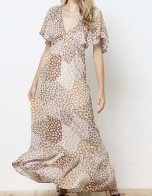 Patchwork Printed Maxi Dress in Taupe