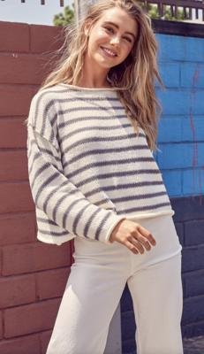 Day Babe Grey Striped Sweater