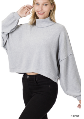 Fall Favorite Extra Soft Mock Neck in Heather Grey