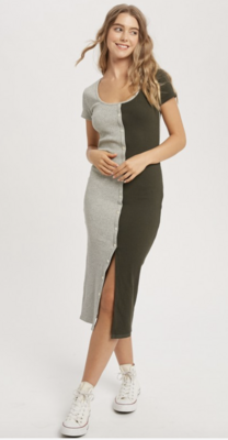 Two Face Color Block Ribbed Fitted Dress
