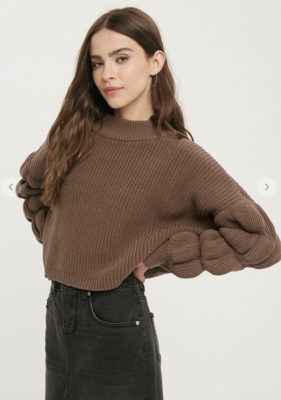Thriving In Your Textured Sleeve Sweater in Cocoa