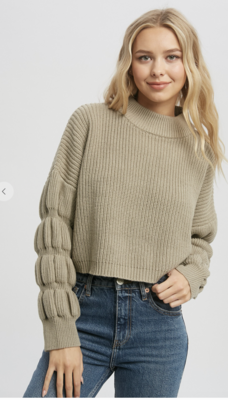 Thriving In Your Textured Sleeve Sweater in Grey/Green