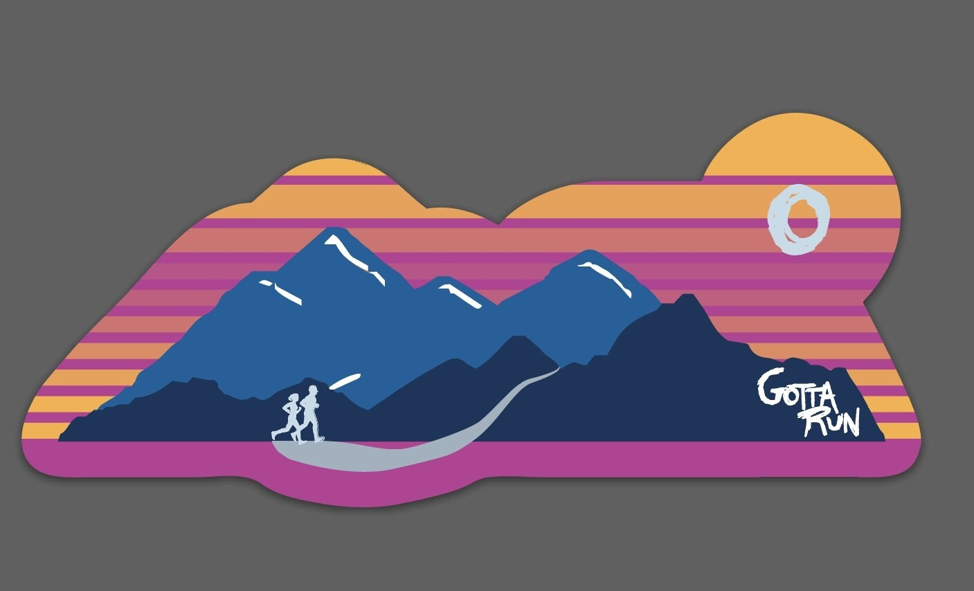 3-pack of Gotta Run Lifestyle Mountain Sunset Runner stickers