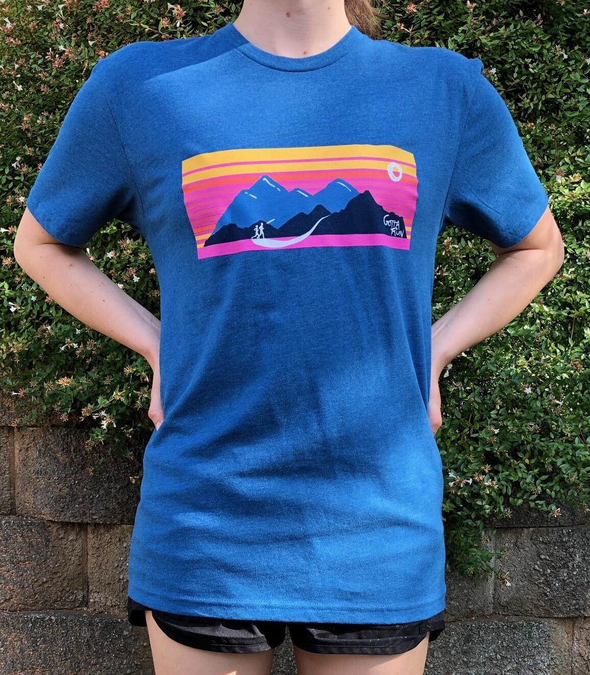 Gotta Run Lifestyle Mountain Sunset 60/40 Blend T-shirt - Heather Cool Blue - Size Small