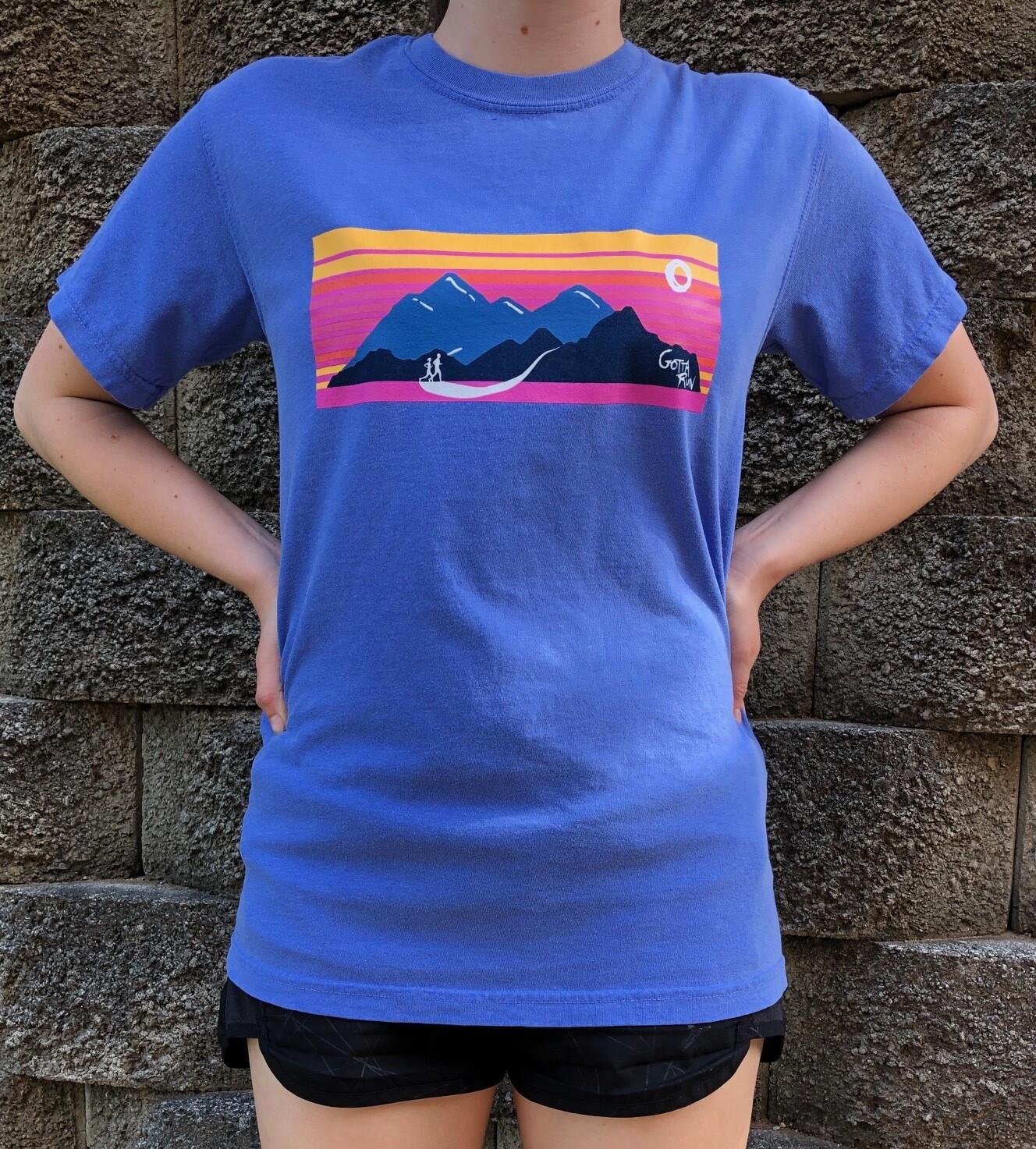 Gotta Run Lifestyle Mountain Sunset Comfort Color 100% cotton T-shirt - Flo Blue - Size Medium