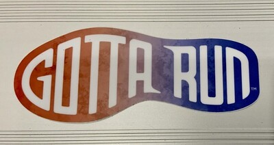 Gotta Run Lifestyle Footprint Sticker Red/White/Blue