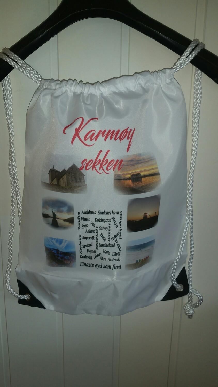 Karmøy sekk med nydlige bilder og tekst ifra Karmøy