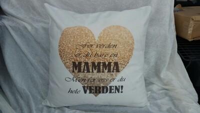 Mamma hjerte pute 50 x 50 cm inkl dun fyll