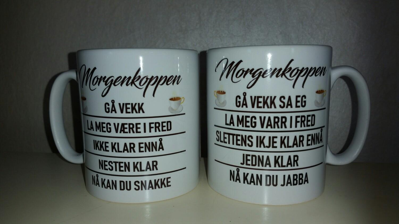 Morgenkoppen fås på bokmål og dialekt