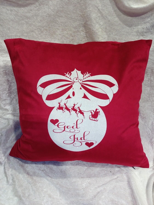 God jul rød velour putetrekk med hvit glitter trykk