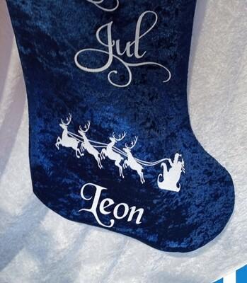 Blå julesokk inkl ditt eget navn