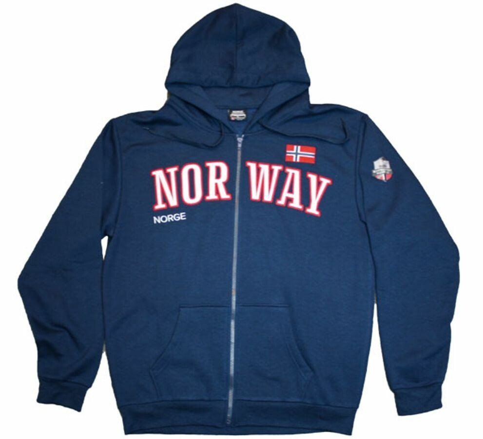 Norway hettejakke, blå. Romslig i størrelsen
