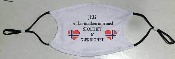 Munnbind med norsk tekst  motiv 2