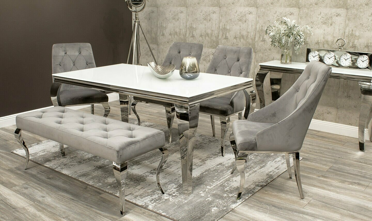Laveda White Glass Dining Table + 7 Cassie Velvet Chairs + Bench