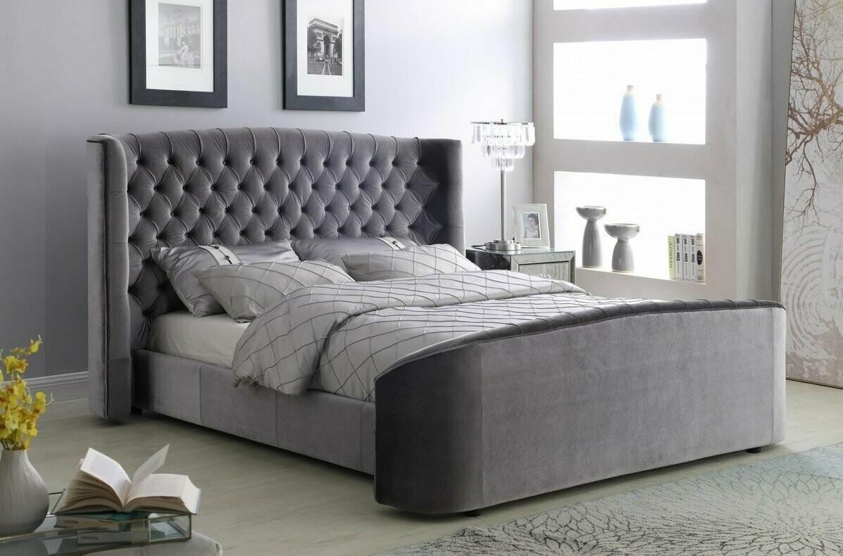Ophelia Silver Grey Plush Velvet Double Bed