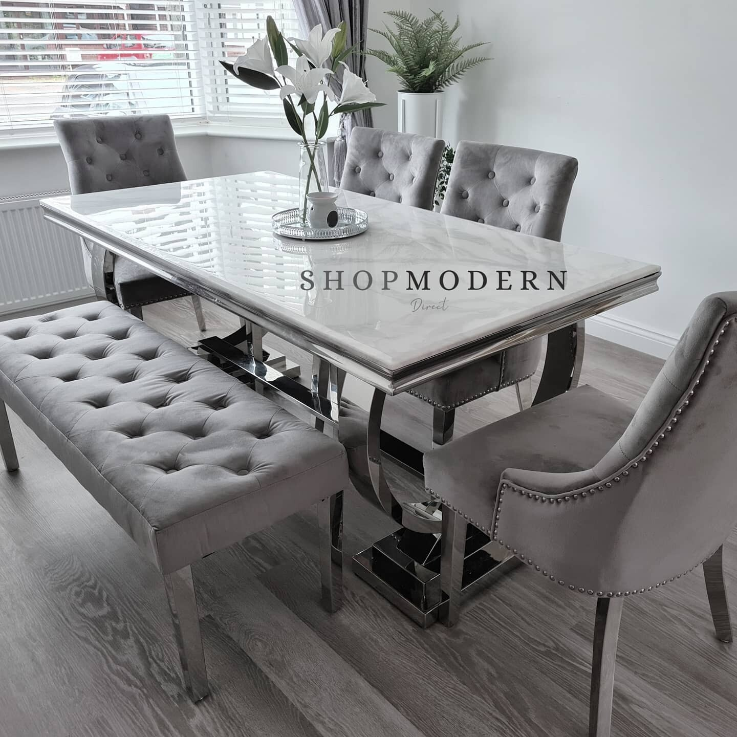 Giovanna 180cm White Grey Marble Canterbury Dining Table Set