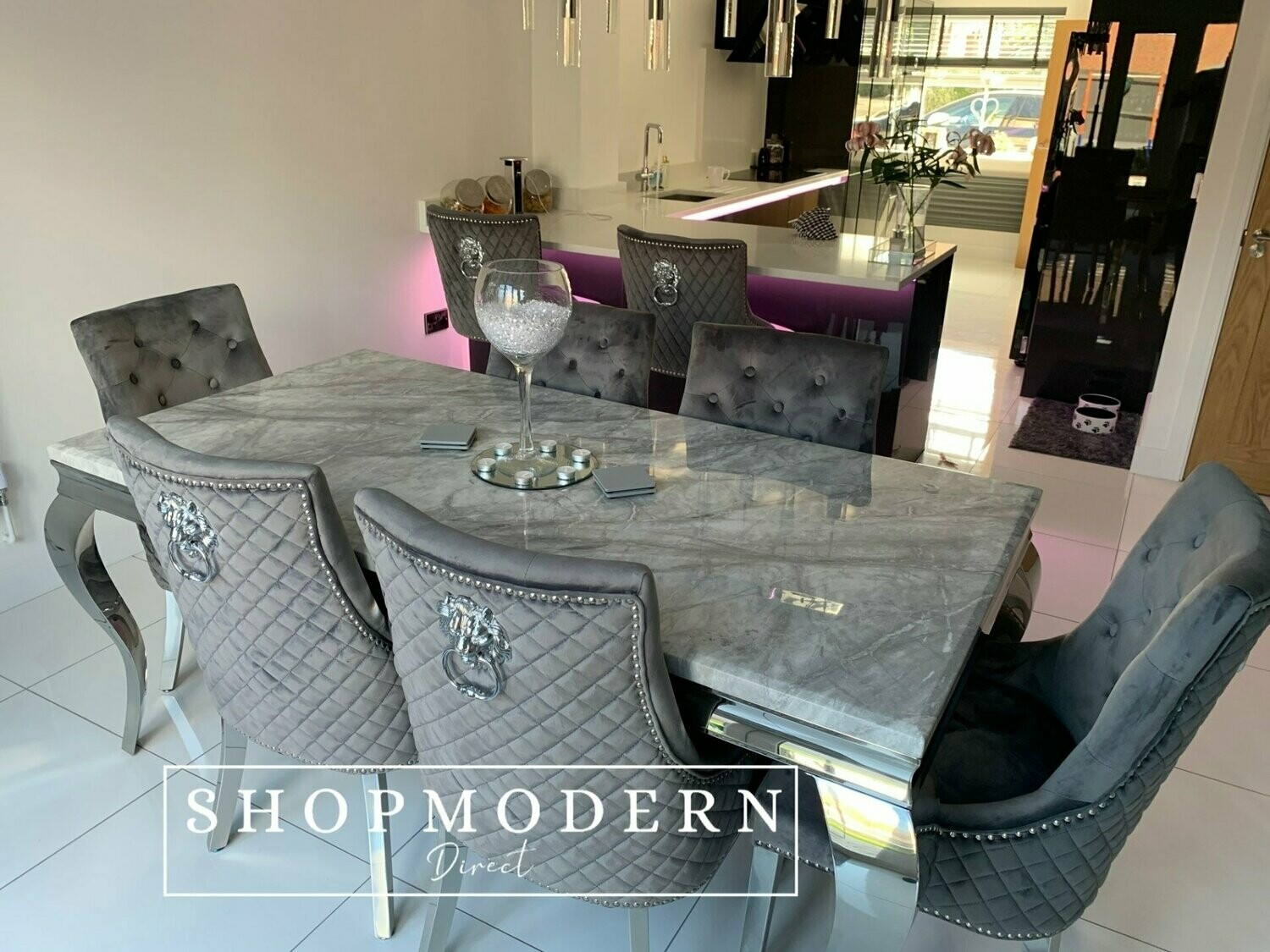 Laveda 180cm Light Grey Marble Dining Table Quilted Knocker Lion Chairs