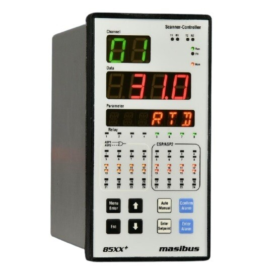 Masibus 85xx+ Temperature scanner with 16 channel input and 8 relay output