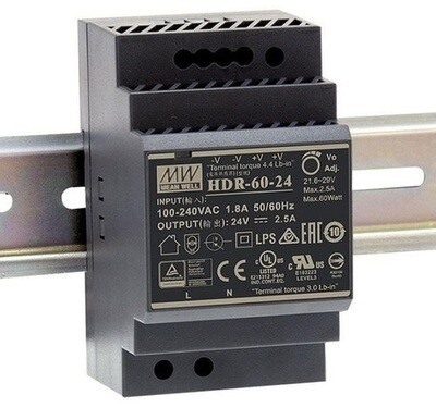 Mean Well HDR-60-24 SMPS 24VDC / 2.5A Din Rail