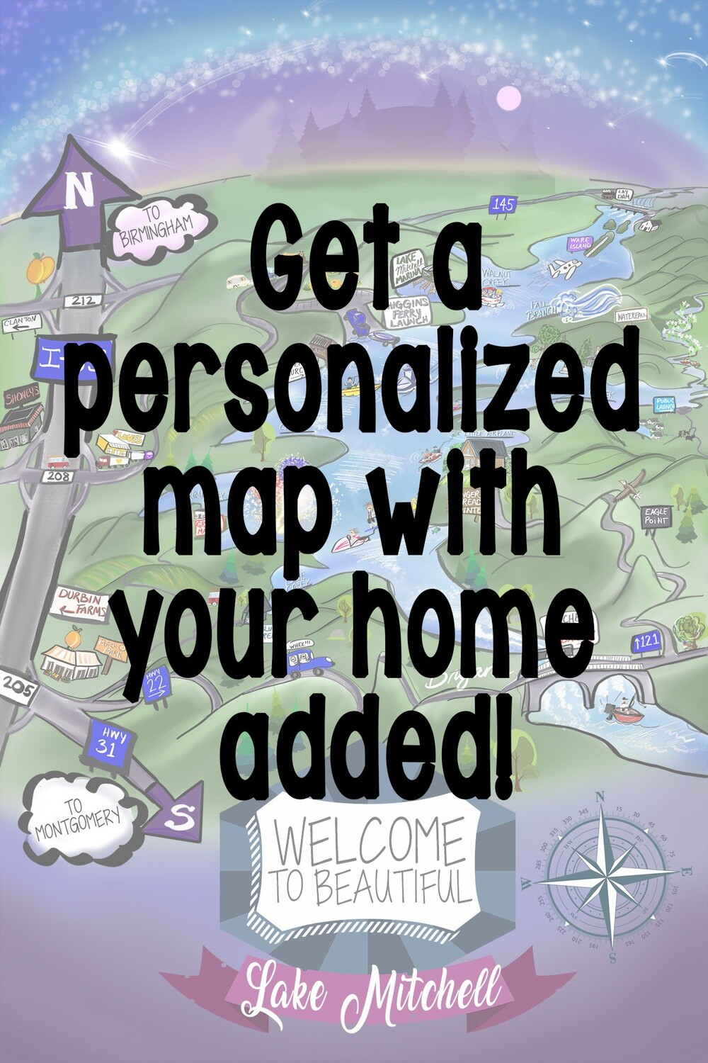 Personalized Lake Mitchell Map