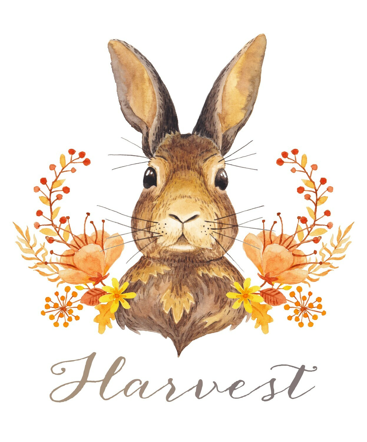"Woodland Watercolors: ""Harvest"" Rabbit Fall Printable"