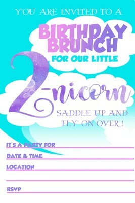 Unicorn Birthday Party Brunch Invitation Free Printable