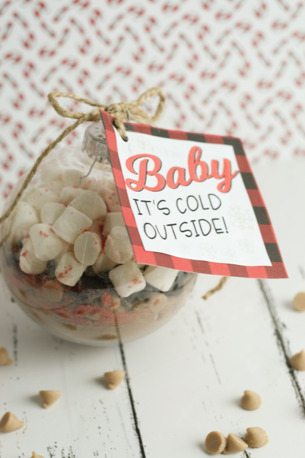 """""""Baby it's Cold Outside"""" Hot Chocolate Christmas Ornament Tag"""