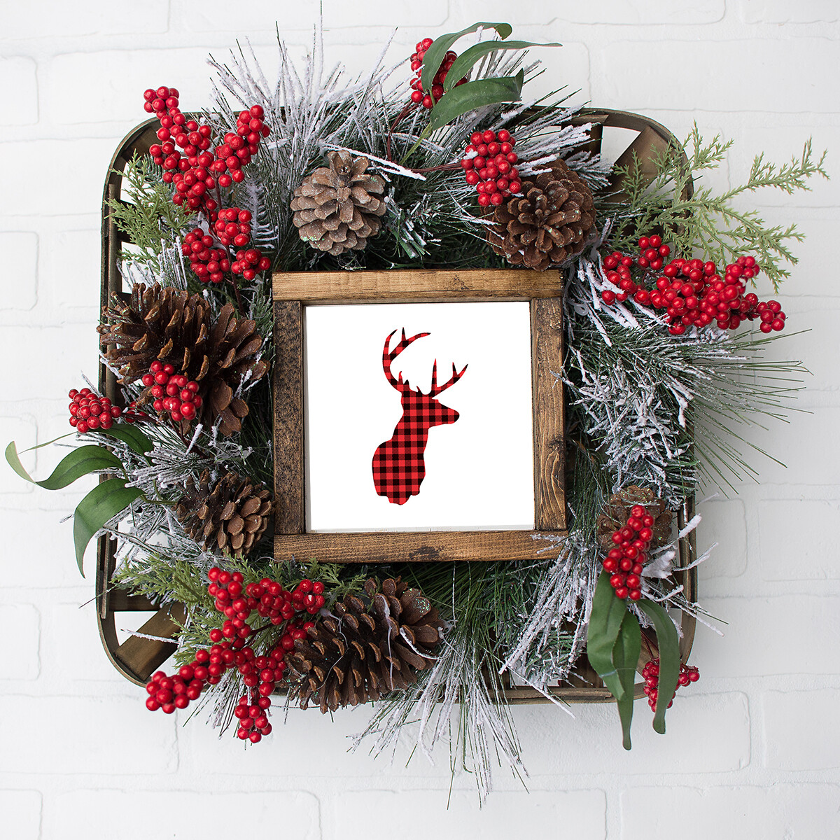 Red Flannel Deer Christmas / Winter Printable (8x8 Square)