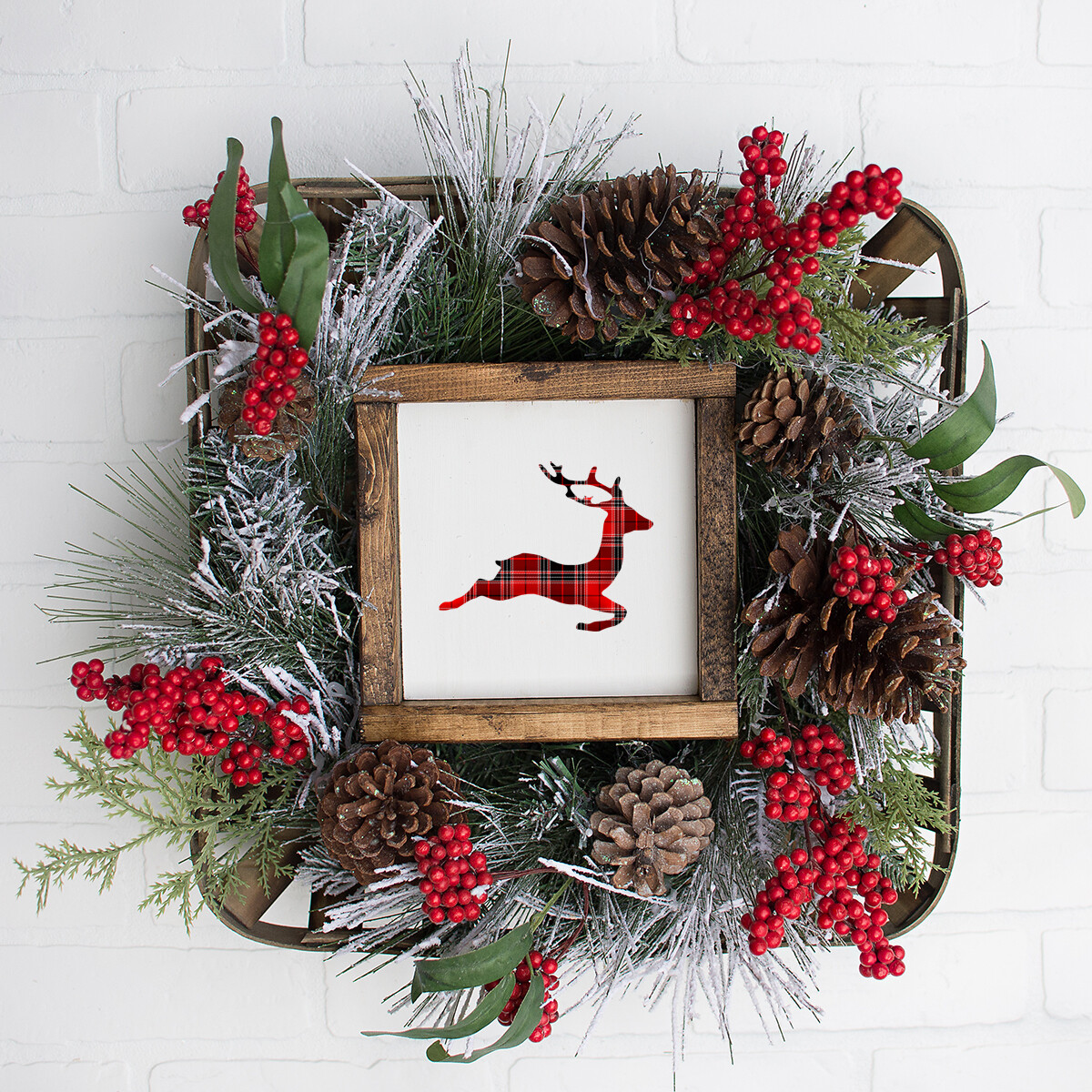 Red Plaid Jumping Reindeer Christmas Printable (12x12 Square)