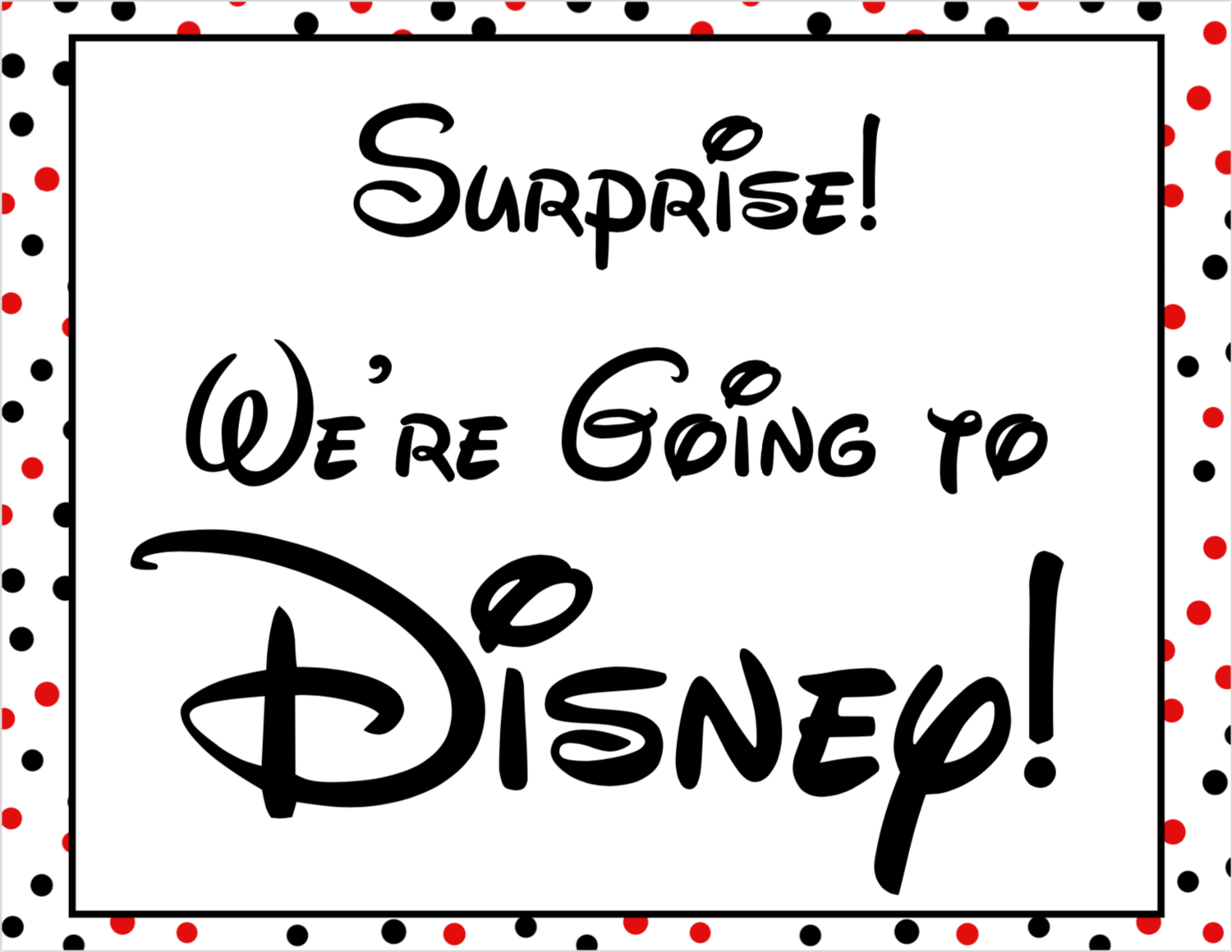 "Disney World Surprise Announcement Sign with Countdown and Fake ""Ticket"" Boarding Pass"