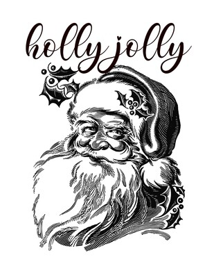 Holly Jolly Christmas Black and White Santa Free Printable