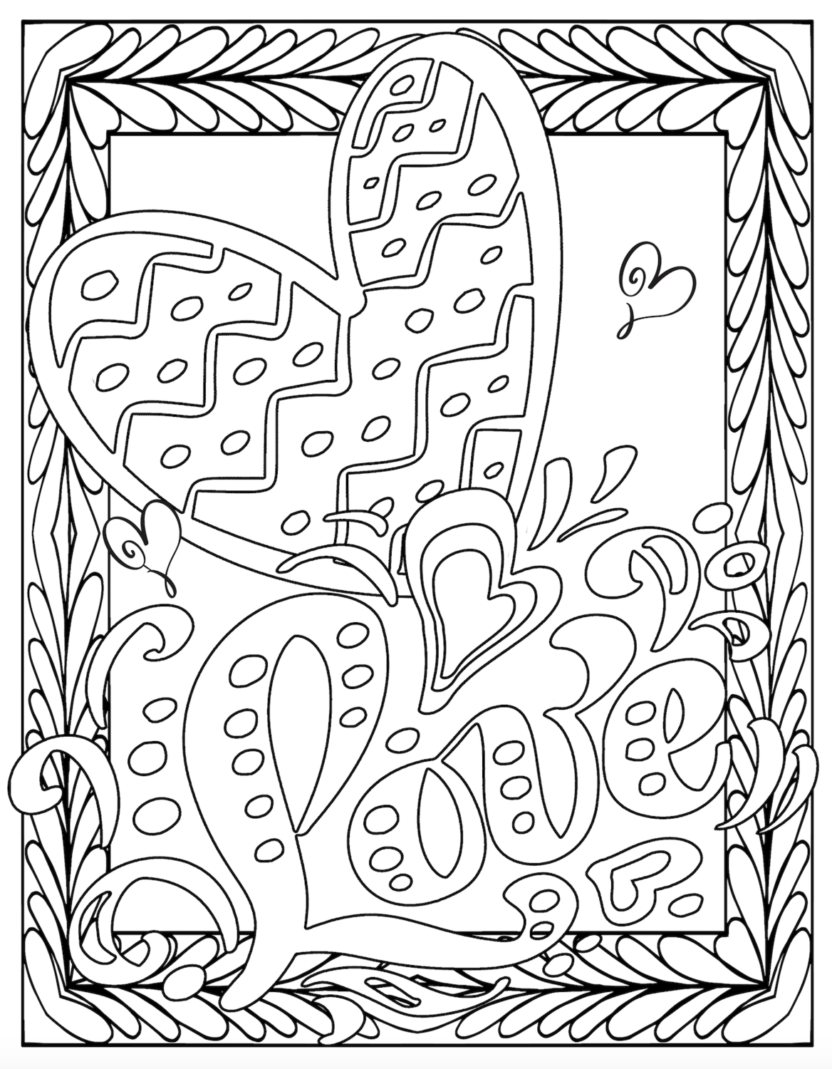 Valentine's Free Printable Love Coloring Pages