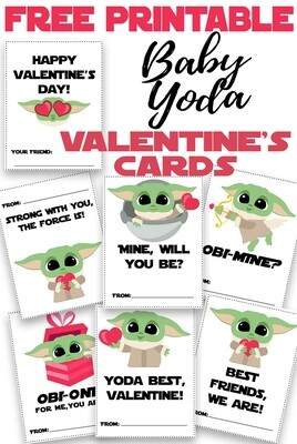 Baby Yoda Valentine's Day Cards: Free Printable
