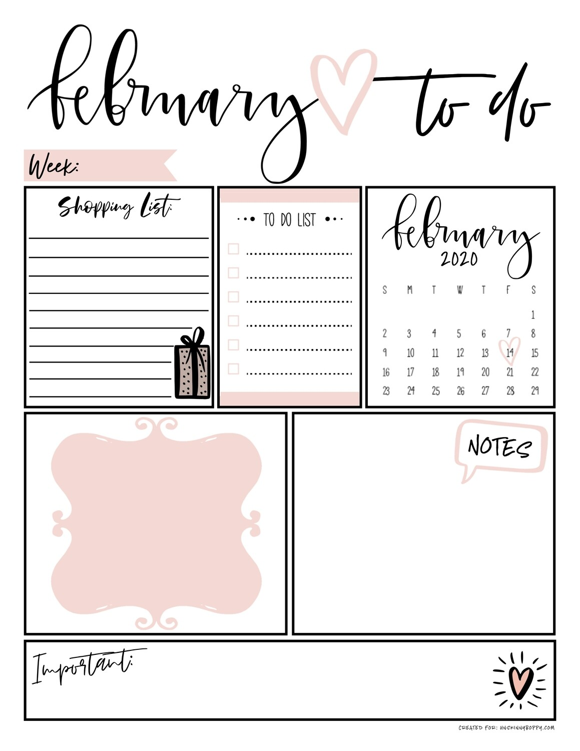 February Daily Organizer/ To Do List Free Printable