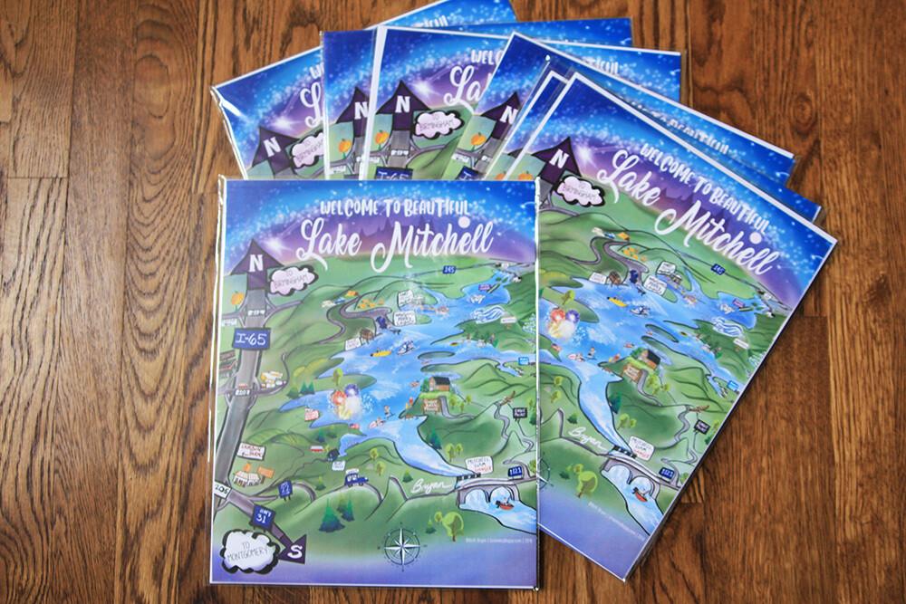 Lake Mitchell Whimsical Cartoon Map (11x14 PRINT+ PDF)