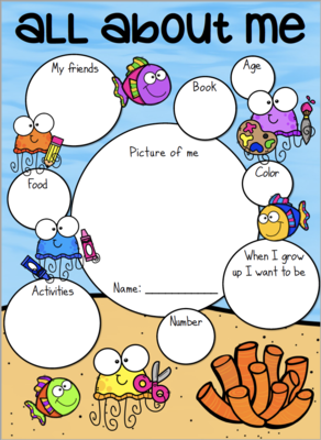 """""""All About Me"""" Back to School Kids Printable- Under the Sea Themed"""