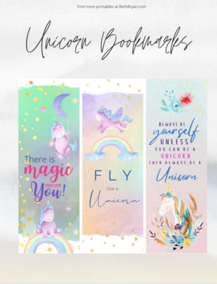 Cute Unicorn Bookmarks {Free Printable with 6 Designs}