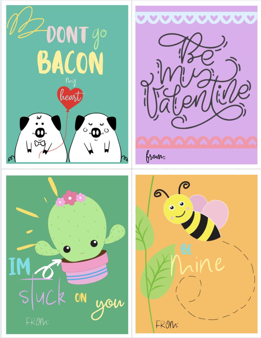 Cute Animal Valentine's Cards {Free Printable 8 Pack}
