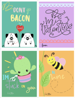 Cute Animal Valentine's Cards {Free Printable 8 Pack}
