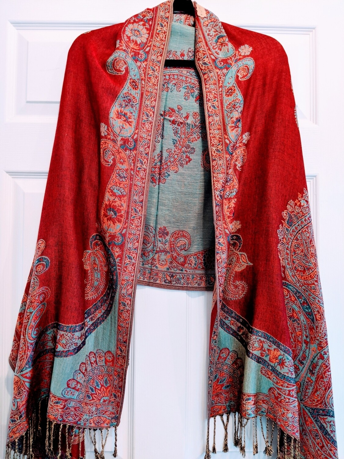 Pashmina - Red and Turquoise