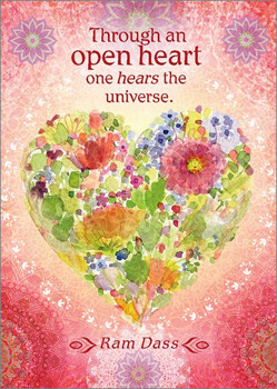 Greeting Card - Through An Open Heart One Hears The Universe