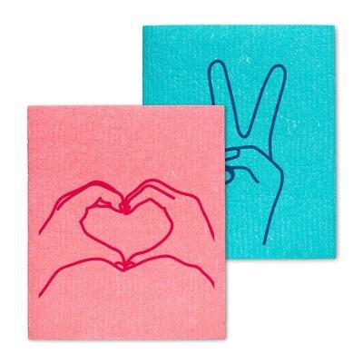 The Amazing Swedish Dishcloth - Peace and Love Set of 2