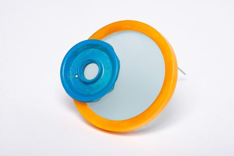 Found: Round Orange and Blue Brooch